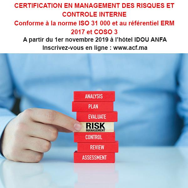 CERTIFICATION EN MANAGEMENT DES RISQUES – Conforme à la norme ISO 31 000 et au référentiel ERM 2017